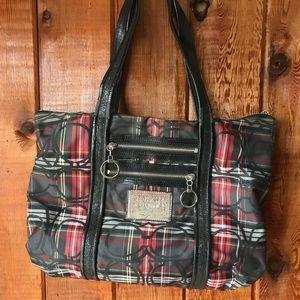 Coach poppy handbag plaid stripe purse red & black
